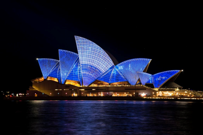 sidney opera house at night